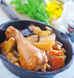 Fried chicken with vegetables Stock Photography