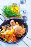 Fried chicken with vegetables Royalty Free Stock Image