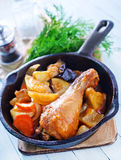 Fried chicken with vegetables Stock Photo