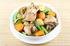 Fried chicken with vegetables Stock Image