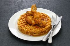 Fried chicken and waffles stock images