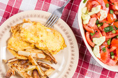 Fried chicken white meat with potatoes on the plate Royalty Free Stock Images