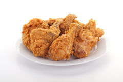 Fried Chicken on White Plate Stock Image