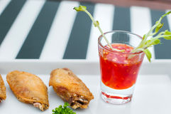 Fried Chicken on White Plate Royalty Free Stock Photos