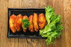 Fried chicken wing bbq,homemade cooking with chicken meat,top vi. Ew on table Stock Images