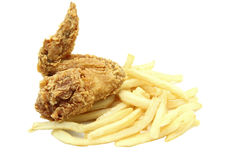 Fried chicken wing with french fries Royalty Free Stock Image