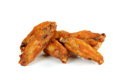 Fried chicken wing isolated on white background Stock Photos