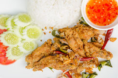 Fried chicken wing. With Thailand herb Royalty Free Stock Photography