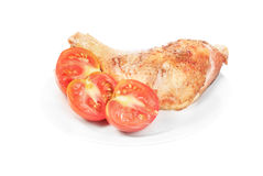 Fried chicken wing with tomato Royalty Free Stock Image