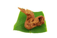 Fried chicken wings on babana leaf Stock Image
