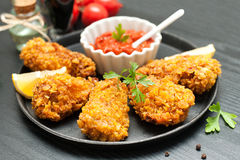 Fried chicken wings - breaded Royalty Free Stock Photo