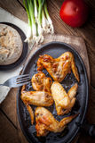 Fried chicken wings. Stock Photo