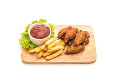 Fried chicken wings. Isolated on white background Stock Image