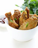 Fried chicken wings with hot  sauce Royalty Free Stock Photos