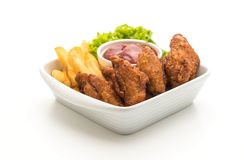 Fried chicken wings. Isolated on white background Royalty Free Stock Photo