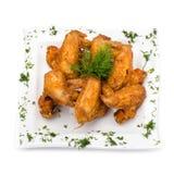 Fried Chicken Wings no branco Imagem de Stock