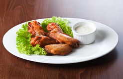 Fried chicken wings with sauce Stock Photo