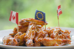 Fried chicken wings. With sauce Royalty Free Stock Images