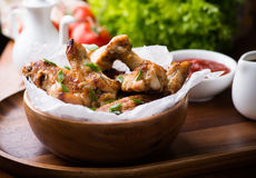 Fried chicken wings with sauces Stock Photography