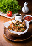 Fried chicken wings with sauces Stock Photo