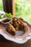 Fried Chicken Wings with spicy Sauce Royalty Free Stock Photo