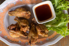 Fried Chicken Wings with spicy Sauce Royalty Free Stock Photos