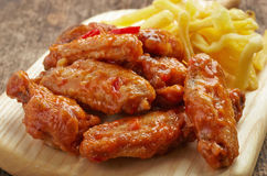 Fried chicken wings with sweet chili sauce Royalty Free Stock Image