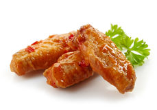 Fried chicken wings with sweet chili sauce. On white background Stock Photo