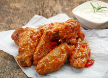 Fried chicken wings with sweet chili sauce Royalty Free Stock Images