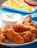 Fried chicken wings with sweet chili sauce Stock Photos