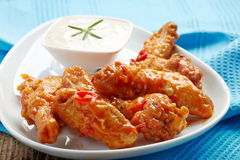 Fried chicken wings with sweet chili sauce Royalty Free Stock Photo