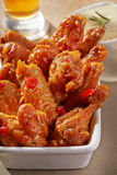 Fried chicken wings with sweet chili sauce Royalty Free Stock Photos