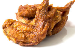 Fried chicken wings. On white backgroud Stock Image