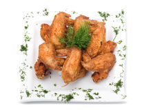 Fried Chicken Wings on white Royalty Free Stock Image