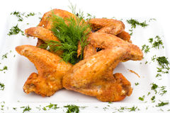 Fried Chicken Wings on white. Fried Chicken Wings on plate, white background Stock Photography
