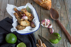 Fried chicken wings on white plate Royalty Free Stock Photo