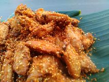 Fried chickhen and garlic street food. Fry chicky Thai food style Royalty Free Stock Photo