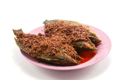 Fried chilli paste sauce with fish on white Stock Photo