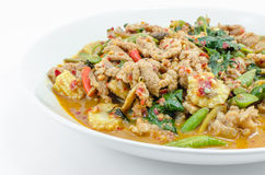 Fried chilly paste sauce with pork Royalty Free Stock Images