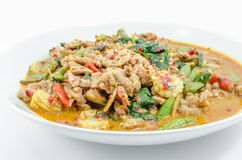 Fried chilly paste sauce with pork Stock Photo