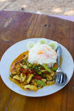 fried chilly paste with shrimps, squid, fish and fried egg Royalty Free Stock Photo