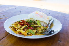fried chilly paste with shrimps, squid, fish and fried egg Stock Images
