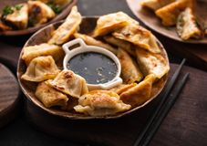Fried Chinese dumpling called Gyoza, kind of asian food.  royalty free stock photo