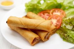 Fried Chinese spring rolls in a white plate, on white wooden table. stock photos