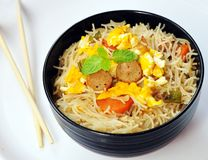 Fried Chinese style noodles stock image