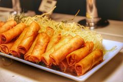 Spring Rolls. Fried Chinese Traditional Spring rolls food royalty free stock photos