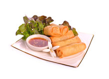 Fried Chinese Traditional Spring rolls food. Asia,Appertizer Royalty Free Stock Image