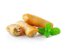 Fried Chinese Traditional Spring rolls food. Isolated on white background royalty free stock photo