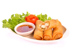 Fried Chinese Traditional Spring rolls food. Thai desert Stock Photo