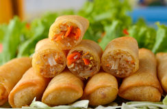 Fried Chinese Traditional Spring rolls food. On white royalty free stock image